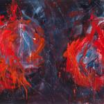Lanterne rosse, dramma (2010, acrilico su tela, 160 x 95)