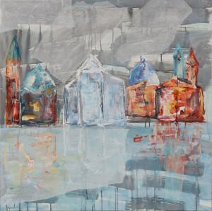 Luce di ricordi, 2012,  tecnica mista su tela, 95 cm x 95
