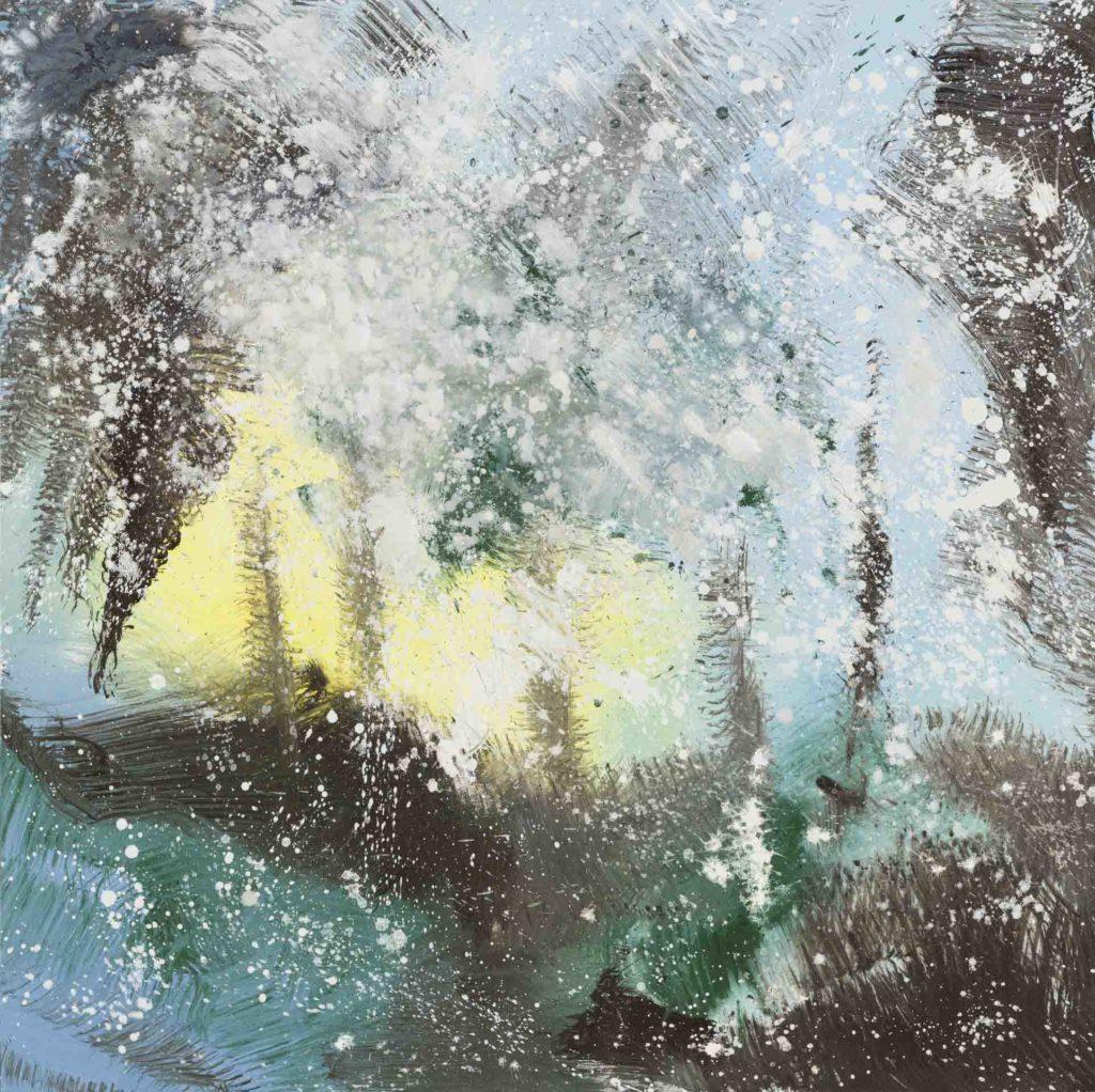Neve (2020, acrilico e smalto su tela, 100x100)